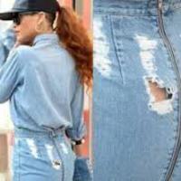 Rihanna yırtık eteğiyle alışveriş yaptı! 1