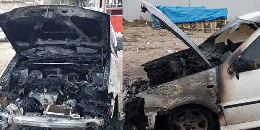 Haspolat'ta araç ateşe verildi
