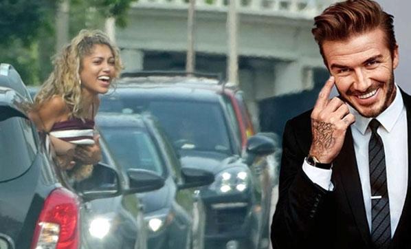 Trafikte Beckham'ı görünce göğüslerini açtı!