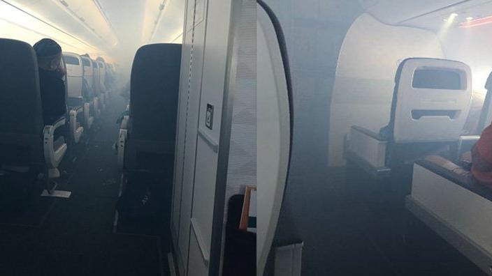 Havada panik… Uçak bir anda dumanla doldu