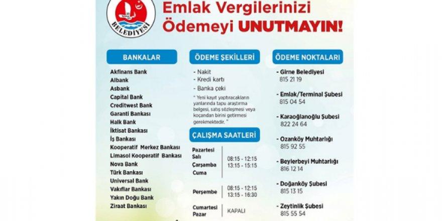 GİRNE BELEDİYESİ'NDEN EMLAK VERGİSİ UYARISI!