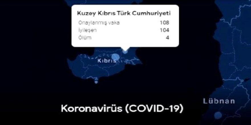 Arama motoru Google koronavirüs haritasına KKTC'yi de ekledi