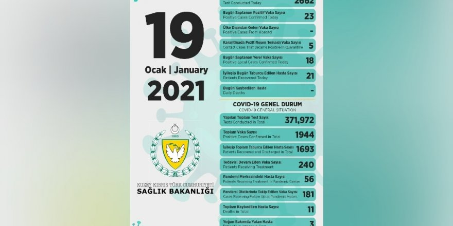 Bakan Pilli:18'i yerel 23 pozitif vakaya rastlandı