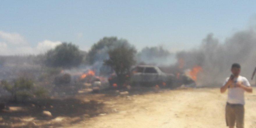 Kalkanlı'da bir kişi kaynak yaparken atılan kıvılcımlar, yangına yol açtı