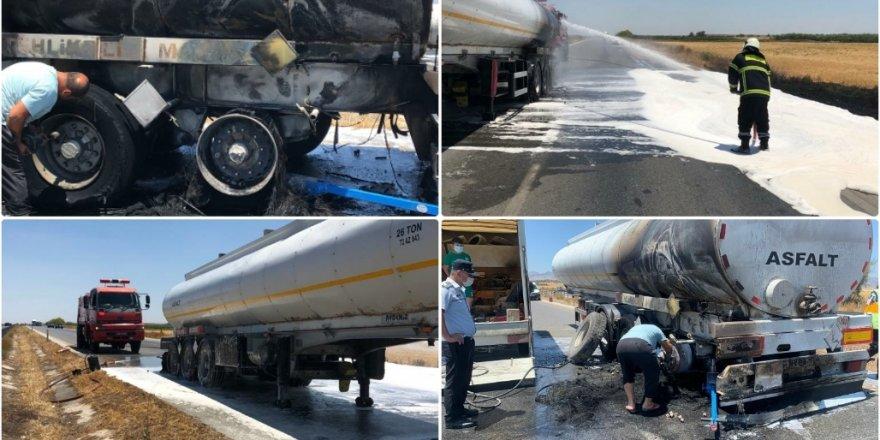 Gazimağusa – Lefkoşa ana yolunda tanker yandı