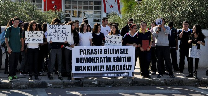 """LİSE ÖĞRENCİLERİ """"DEMOKRATİK EĞİTİM"""" İSTEDİ"""