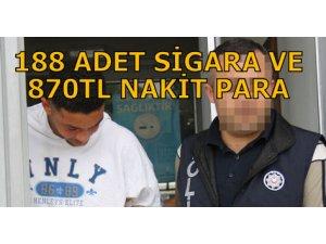 188 ADET SİGARA VE 870TL NAKİT PARA