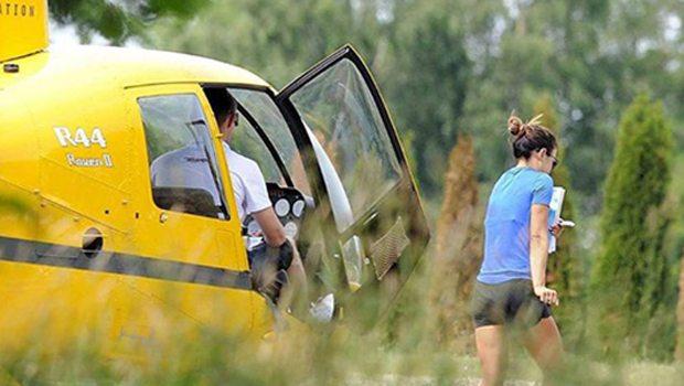 Ünlü futbolcunun eşi, ekmek almaya helikopterle gitti!