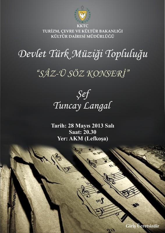 """DEVLET TÜRK MÜZİĞİ TOPLULUĞU'NDAN """"SÂZ-Ü SÖZ"""""""