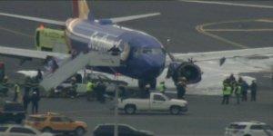 Havada patlayan uçak motoru bir yolcuyu öldürdü