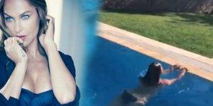 Hülya Avşar havuzda şov yaptı